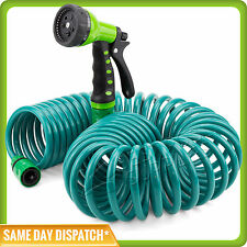Expandable Flexible Coiled Garden Hose with a 7 pattern Spray Gun - 12m / 40ft