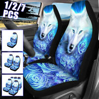 7PCS Car Seat Cover Set Universal Fit Rose Wolf Seat Protection Cover Pad