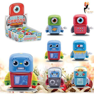 MINI TIN ROBOT Kids Toy Clockwork Wind Up Birthday Party Bag Fillers Gift Pack