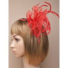 Red Looped Chiffon Fabric & Feather Fascinator on Clear Comb
