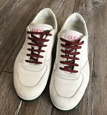 Rare Gucci Sneakers Web Low Top Leather Anniversary 1984 White Mens US 7