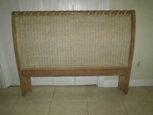 Queen Sleigh Bed Headboard Natural Wood Rattan Insert Carved Details