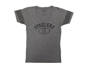Pittsburgh Steelers Grey Football Logo Women's Jersey Style T-shirt(XL)