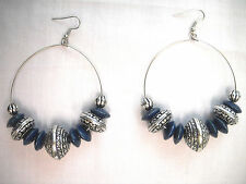 NEW BOHO RICH BLUE WOOD & ANTIQUE ALLOY BEADED HOOP DANGLING FASHION EARRINGS