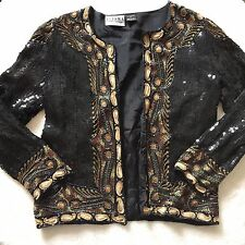 VINTAGE ALISHA SILK BLACK GOLD SEQUIN BEADED LINED OPEN FRONT JACKET SMALL