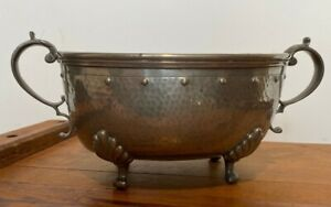 RARE ANTIQUE HERALDIC AM & CO ENGLISH PEWTER ART NOUVEAU FOOTED HANDLED PLANTER