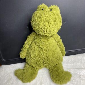 "Jellycat London Plush Shaggy Lime Green Frog 15"" Stuffed Animal Soft Toy"