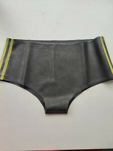 Rubber Gummi Latex Black Low Waist Triangle Shorts S-XXL
