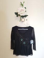 ✿♡ 'Dolina' Womens Shirt Top Size 6 (Cute Elegant Sheer Black Sequin Fairy) ♡✿