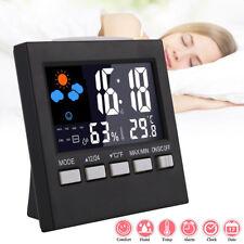 LCD Digital Thermometer Hygrometer Humidity Meter Indoor Rooms Clock Temperature
