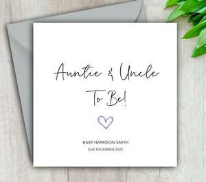 Pregnancy Announcement Card Auntie & Uncle To Be, Baby, Handmade Personalised