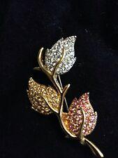 Swarovski Leaf Leaves Pin Signed - New