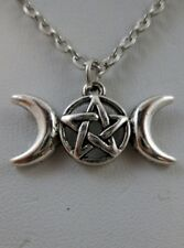 "Wiccan Triple Goddess Pentacle Protection Pendant 18"" Chain Pagan Wicca Occult"
