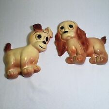 Puppy Dog Chalkware Wall Plaques Cocker Spaniel and Rat Terrier Set