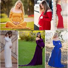 2017 Women Maternity Off Shoulder Photography Maxi Dress Cotton Long Sleeve Prop