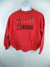 Vintage 1990s Chicago Blackhawks Large Sweatshirt Red NHL Embroidered Front Row