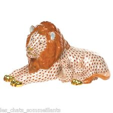 HEREND, LION AND THE  LAMB PORCELAIN FIGURINE, RUST FISHNET, FLAWLESS, $1350