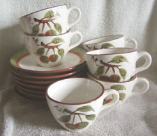 Stangl Art Pottery Orchard Song Set of 7 Cups & Saucers