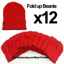 **RED** WHOLESALE LOT OF 12 PLAIN BLANK LONG FOLD UP BEANIE HATS