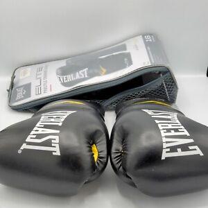 Everlast Elite Pro Style Training Boxing Gloves, 16oz - Black
