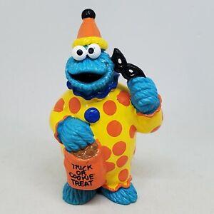 Vtg Sesame Street Cookie Monster Halloween Clown PVC Figure Applause Trick Treat