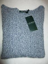 Ralph Lauren LRL Women's Blue Cotton Crew Neck Cable Knit Sweater