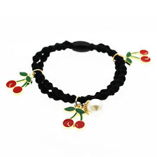 Black Red Gold Cherries Girls women Elastic Hair Band Wrap Accessories HA255