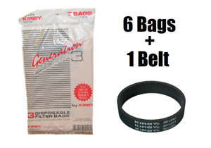 6 Genuine Kirby Vacuum Bags & Belt G3 G4 G5 G6 G7 Sentria Bag