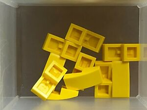 Lego 2 Yellow 10x1 curved smooth slopes brick block NEW