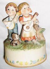 "Playful 4 1/4"" Ceramic Boy & Girl Figurine Music Box Plays ""Talk to the Animals"""
