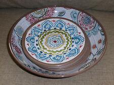 9 pc Crate and & Barrel Caprice Melamine Melmac Plastic Salad Bowl Plates Dishes