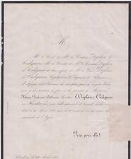 *1860 Faire-part décès Comtesse DUPLEIX de CADIGNAN née Catherine HUNTER Condom