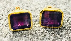 Natural Amethyst Gemstone with Gold Plated 925 Sterling Silver Cufflink #4640