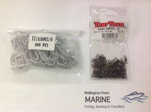 TruTurn 711 3/0 100 Pack + Gang Swivels #6 72 Pack Value pack