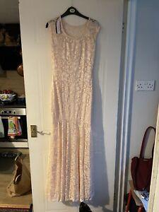 Long Ladies Ballgown Ballroom Dress Pink Cream  Size 12