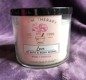 New Bath & Body Works Aromatherapy LOVE Rose + Vanilla 3-Wick 14.5 oz Candle