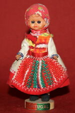 Hand Made Souvenir Portuguese Wood/Plastic/Cloth Girl With Folk Costume Figurine