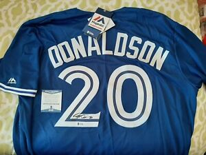 Josh Donaldson signed Blue Jays Majestic cool base jersey Beckett COA #S63380