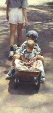 Steve Hanks TRAVELING AT THE SPEED OF LIFE, children, wagon, art print