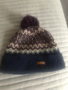 Barts Hats Drew Fair Isle Bobble Hat - Navy Blue RRP £27