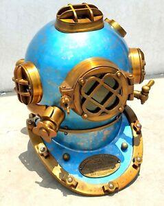 "Antique Scuba Diving Helmet Blue Finish Heavy Metal 18"" Marine Driver Helmet"