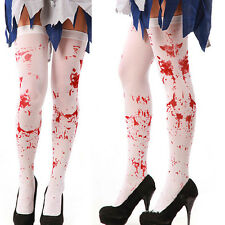 Halloween Bloody White Cotton Knee Length Sock Girl Women Stocking Teen Adult MW