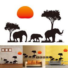 Elephants Trees Sunset Wall Art Decal Animal Paper Sticker Living Room Decor