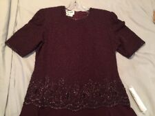 Wine Sequin Short Sleeved Top Evening Gown Size Large Tea Length
