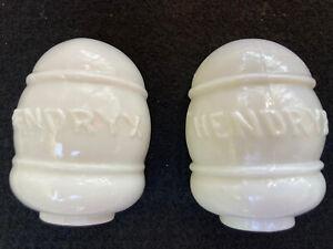 VTG Pair of WHITE MILK GLASS BIRD CAGE FEEDER WATER DISH Cup Hendryx Antique