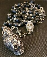 Rhodonite with Obsidian and Skulls~Necklace and Earring Set~Black and Pink~Samhain~Dia De Los Muertos