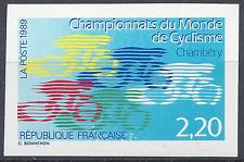 CHAMPIONNATS DE CYCLISME N°2590 TIMBRE NON DENTELÉ IMPERF 1989 NEUF ** MNH