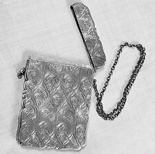 Nathaniel Mills engraved card case English - Birmingham -1849 in sterling silver