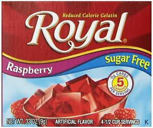 Royal Raspberry Gelatin Dessert Mix, Sugar Free and Carb Free (6 Pack)