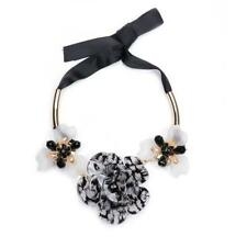 BOLD STATEMENT NECKLACE -  BLACK & WHITE FLOWER - FREE UK P&P......T117